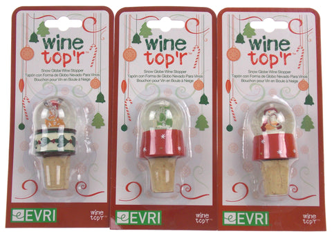 Holiday Wine Topper Globe Top'r Set 3 Polar Bear Reindeer Snowman Evri