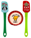 Hail To The Chef Spoon Rest Christmas Tree Penguin Spatulas Set 3 Santa Baking - FUNsational Finds - 1
