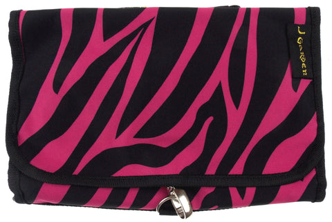 Cosmetic Makeup Bag Pink Black Zebra Travel Kit Folding Pouch Organizer Case - FUNsational Finds - 1