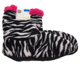 Capelli New York Zebra Print Pink Trim Slipper Boots Grippers Fuzzy Soft Nonslip