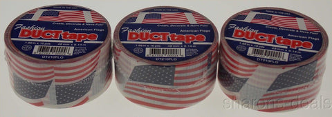 "Lot 3 American Flag Duct Tape Rolls 1.88""x10Yds USA Red White Blue Fashion Craft - FUNsational Finds - 1"
