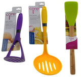 Set of 3 Core Kitchen Purple Potato Masher Yellow Skimmer Green Turner - FUNsational Finds - 1