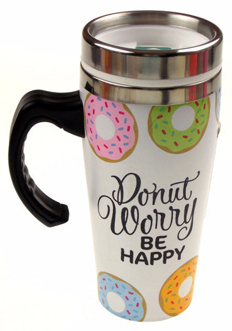 Donut Worry Be Happy Coffee Travel Mug 16 oz Lid Stainless White Insulated