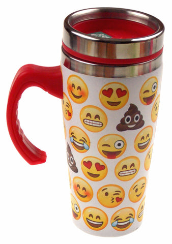 Emoji Coffee Travel Mug 16 oz Stainless White Red Splash Guard Lid Insulated SS
