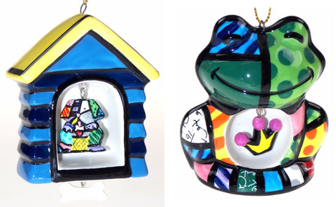 Artist Romero Britto Christmas Tree Ornaments Dog House Frog Crown Set 2 Collect