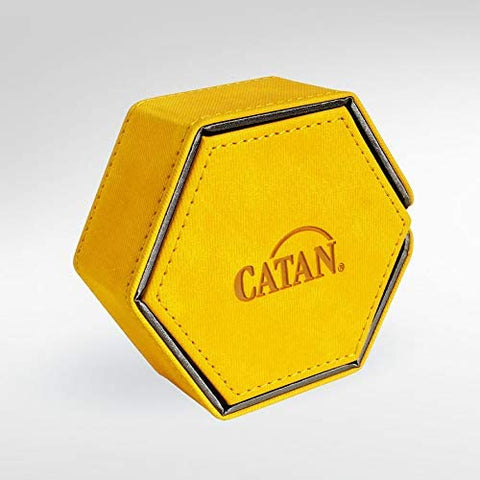 Gamegenic Catan Hexatower Premium Dice Tower Yellow Magnetic Storage Box Lined