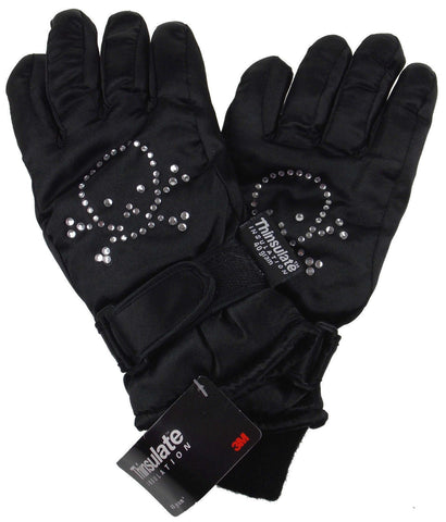 Shiny Black Joe Boxer Kids Gloves 3M Thinsulate 40g Skull Waterproof Winter NEW - FUNsational Finds - 1