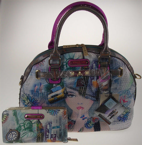 Nicole Lee New York Print Satchel Bag Wallet NY10329 Statue Liberty Taxi Handbag - FUNsational Finds - 1