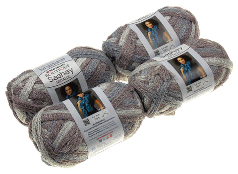 Red Heart Yarn Lot of 4 Skeins Balls Boutique Sashay Metallic Opal Silver Bronze