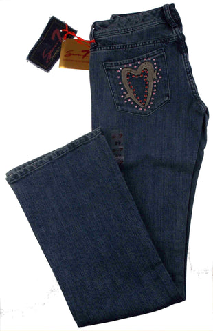Seven 7 Jeans Heart Pockets Size 27 4-5 Low Rise Flare Stretch Rhinestones Light - FUNsational Finds - 1