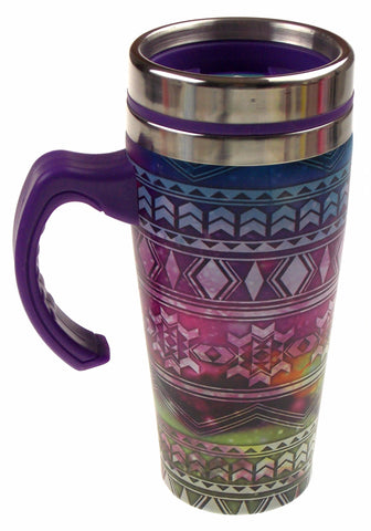 Southwestern Theme Purple Coffee Travel Mug 16oz Stainless