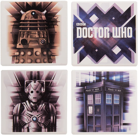 Vandor Doctor Who 4 Piece Ceramic Coaster Set Square Tardis Cyberman Dalek Gift