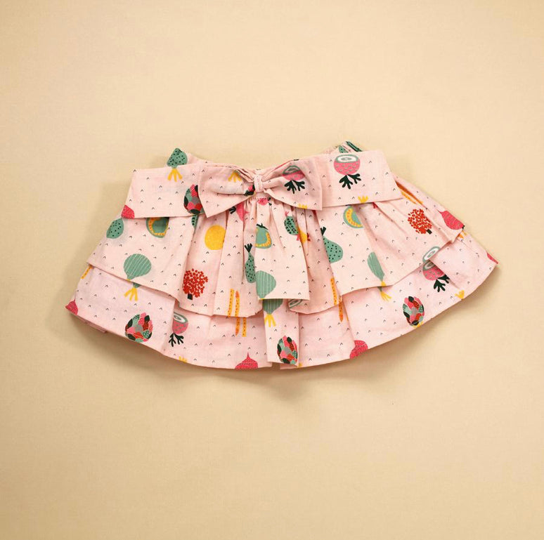 Two Tier Veggie Skirt with Bow- Blush