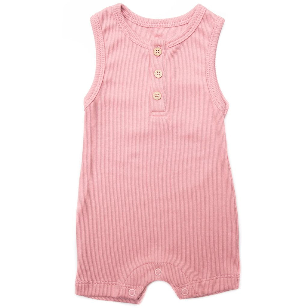 ribbed tank romper- dark rose