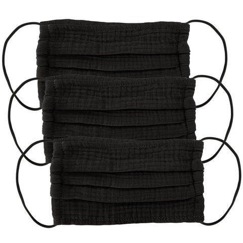 Cotton Face Mask 3pc Set- All Black