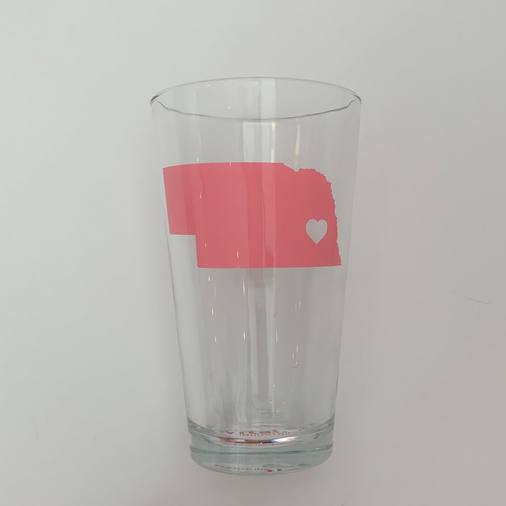 Pink Nebraska Pint Glass