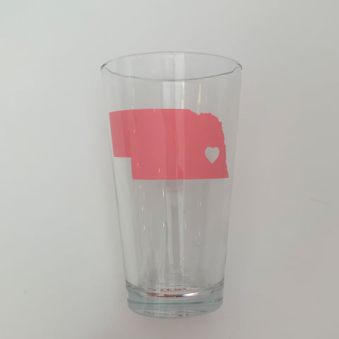 Pink Heart Nebraska Pint Glass
