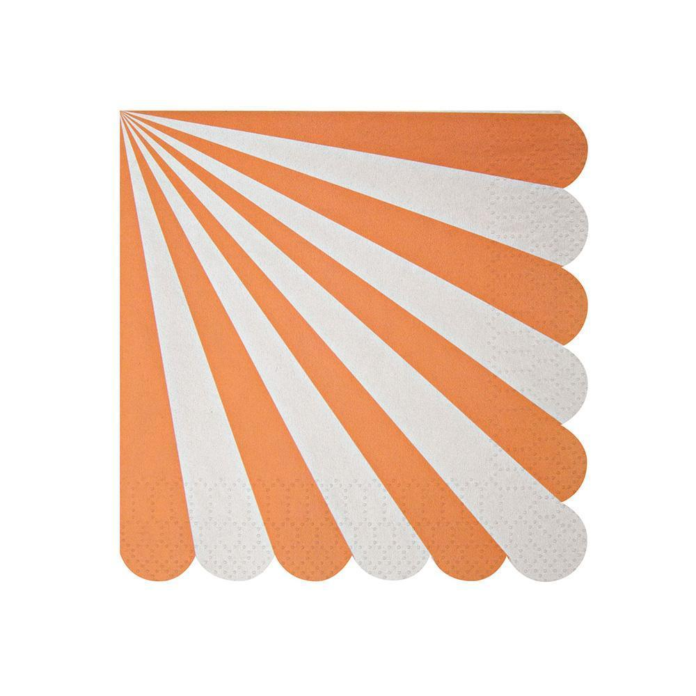orange fan stripe napkins- small