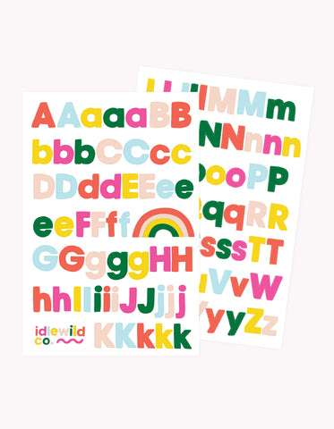 sans brights alphabet sticker sheets