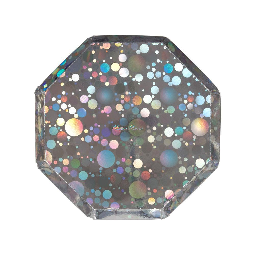 holographic silver bubble side plate