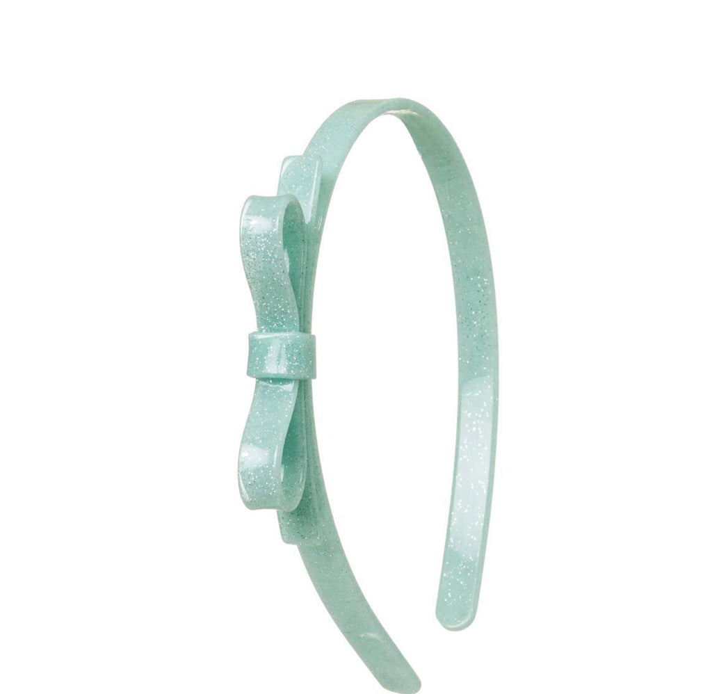 Thin Bow Glitter Mint Headband