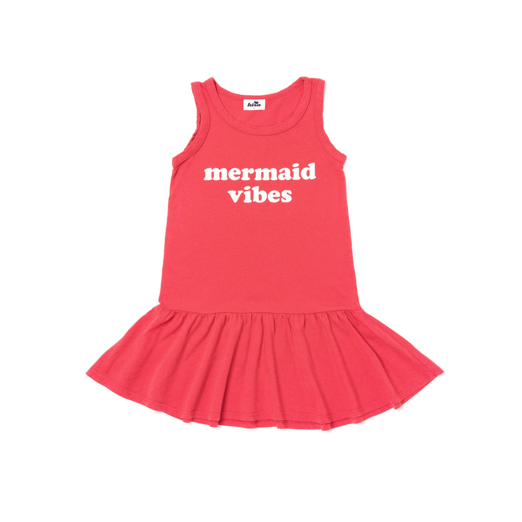 mermaid vibes ruffle tank dress in fluro coral