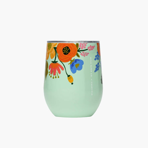 Lively Floral Mint Stemless Wine Cup