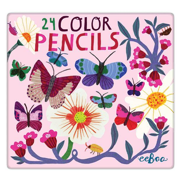 butterflies & flowers 24 color pencils tin