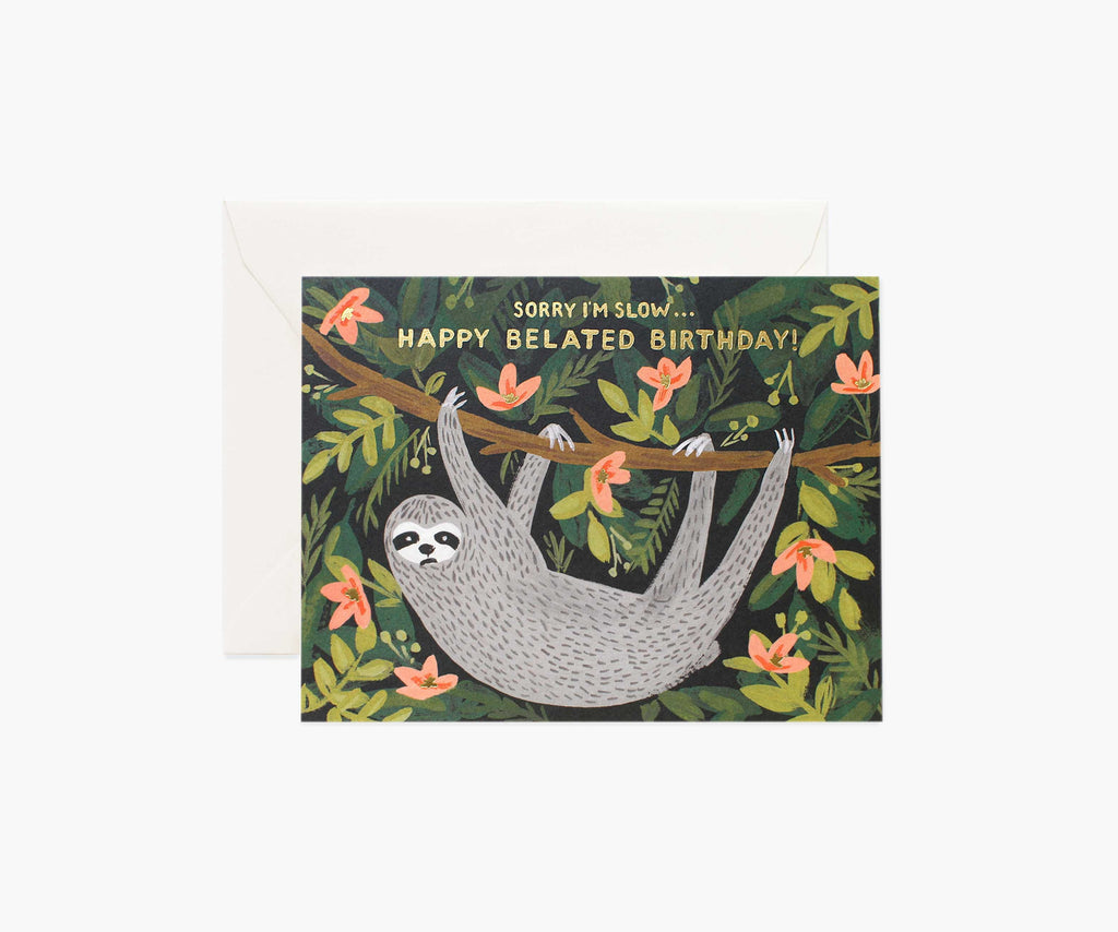Sloth Belated Birthday- Birthday Card