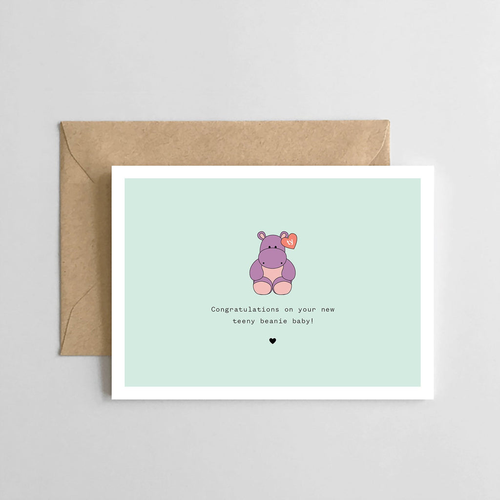 Teeny Beanie Baby: Hippo- Greeting Card