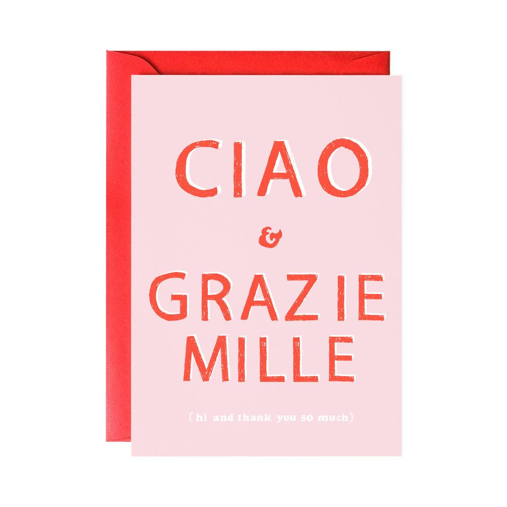 Ciao & Grazie Mille Card