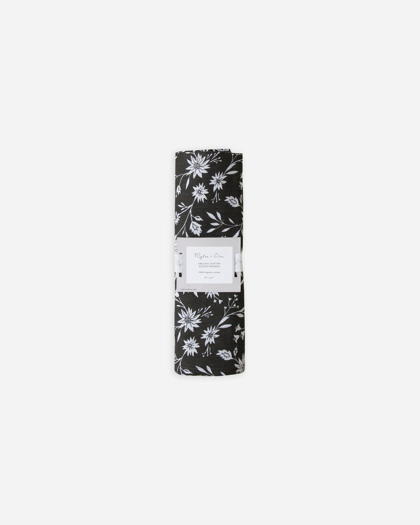 midnight floral organic swaddle