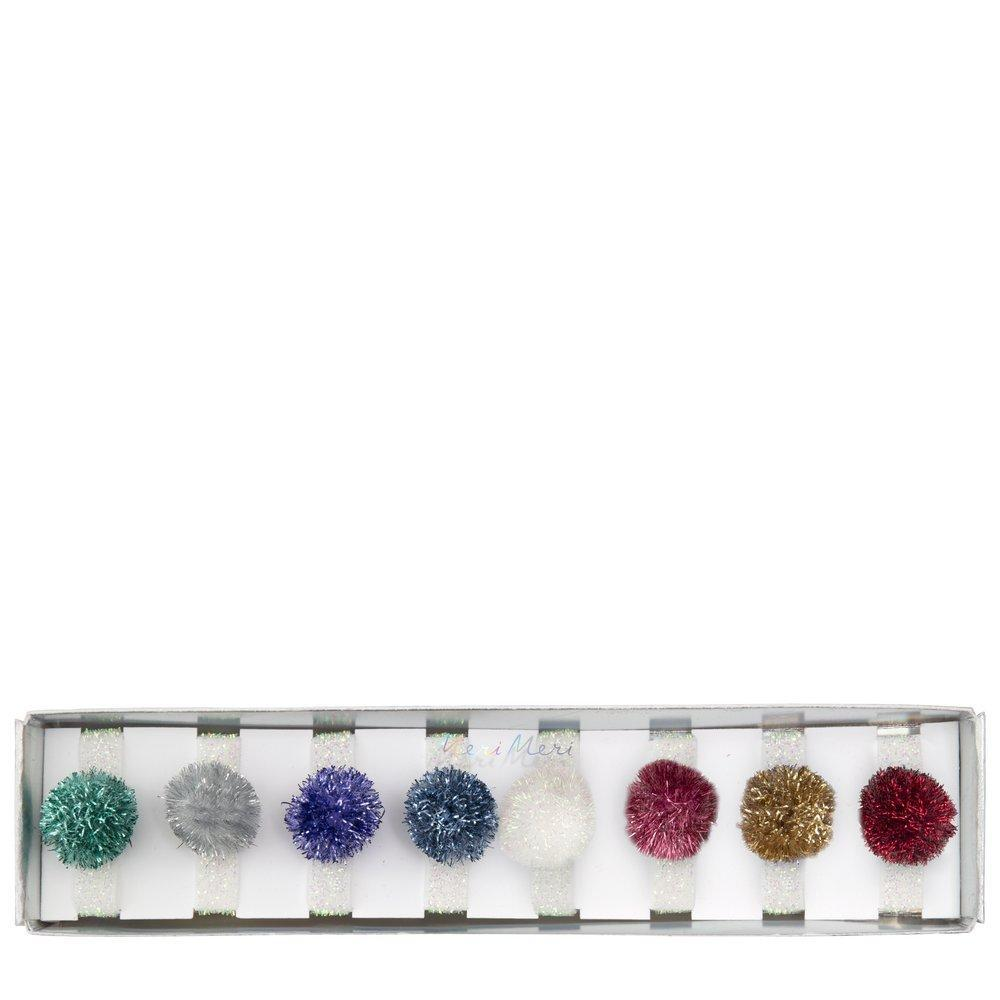 Tinsel Pompom Hair Ties