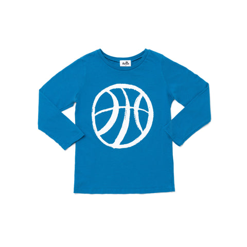 basketball graphic longsleeve t-shirt, ocean blue