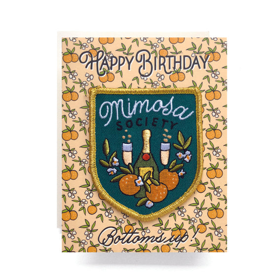 Patch Greeting Card- Mimosa Birthday