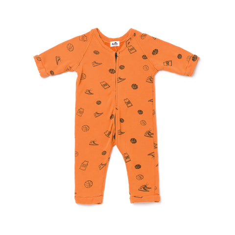 basketball zip romper- copper
