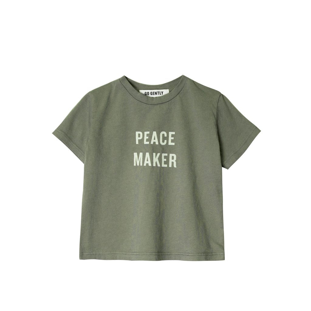 peace maker tee- thyme w/ ivory ink