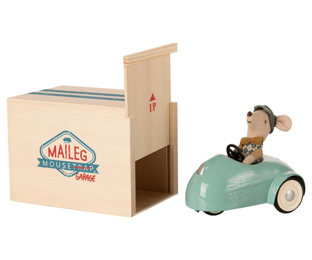 Mouse Car with Garage- Blue