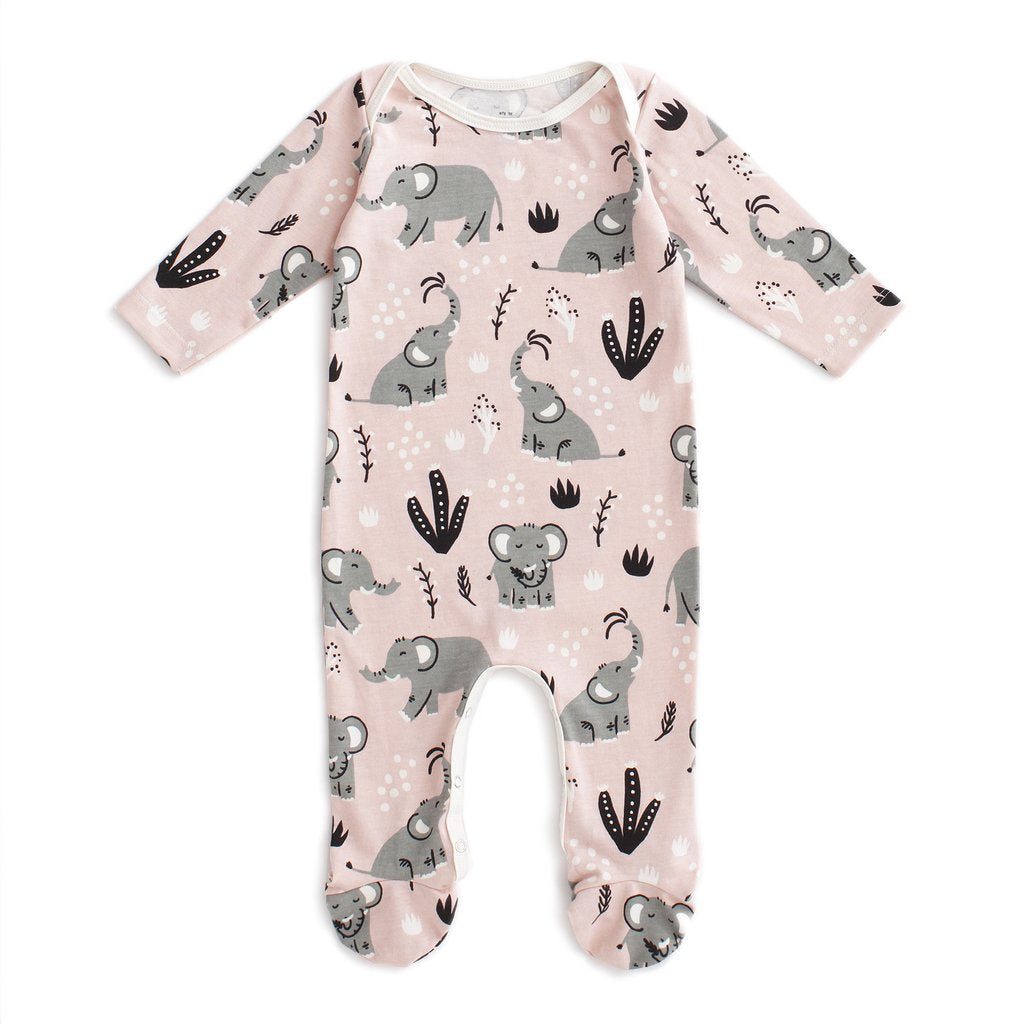 Footed Romper- Pink Elephants
