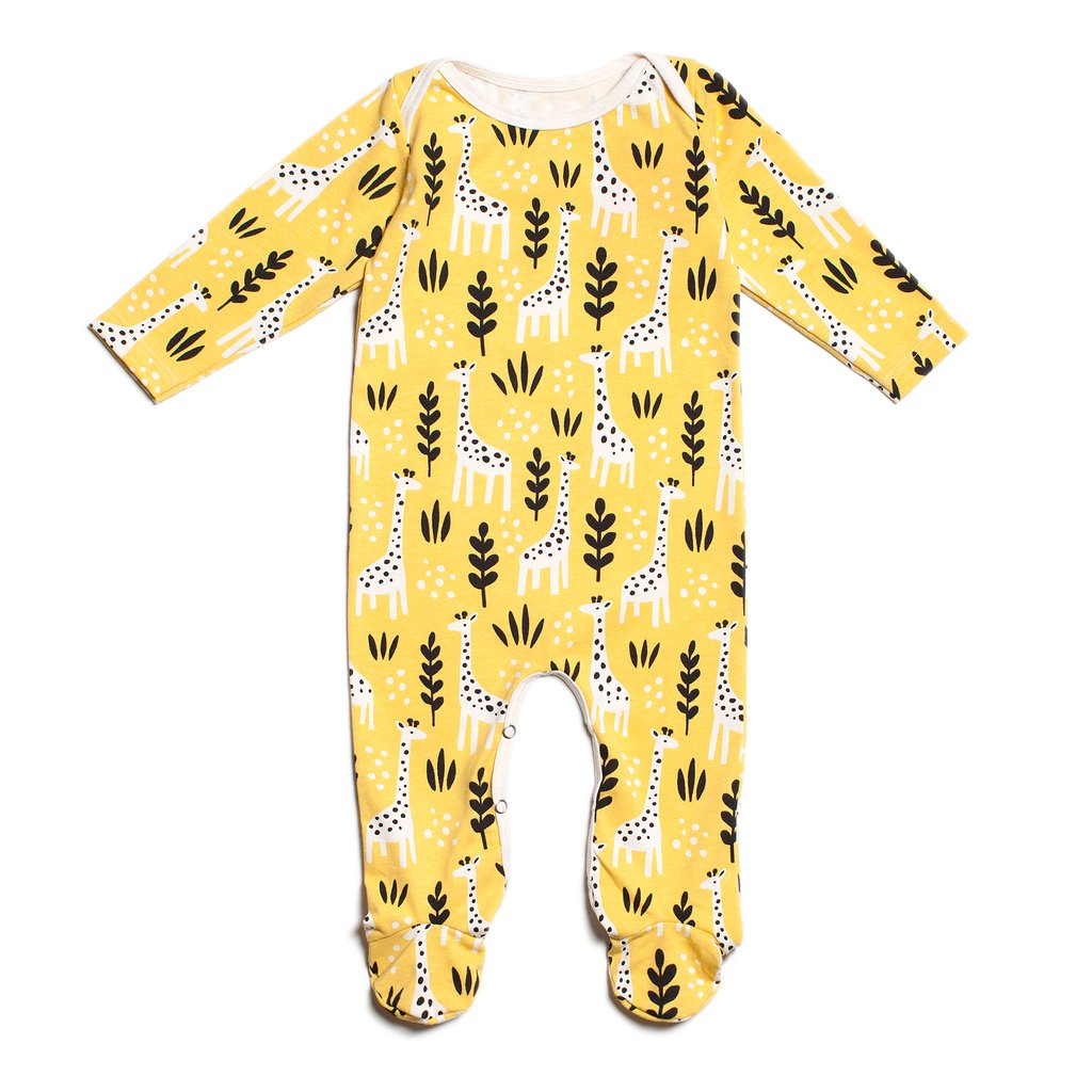 Footed Romper- Yellow Giraffes