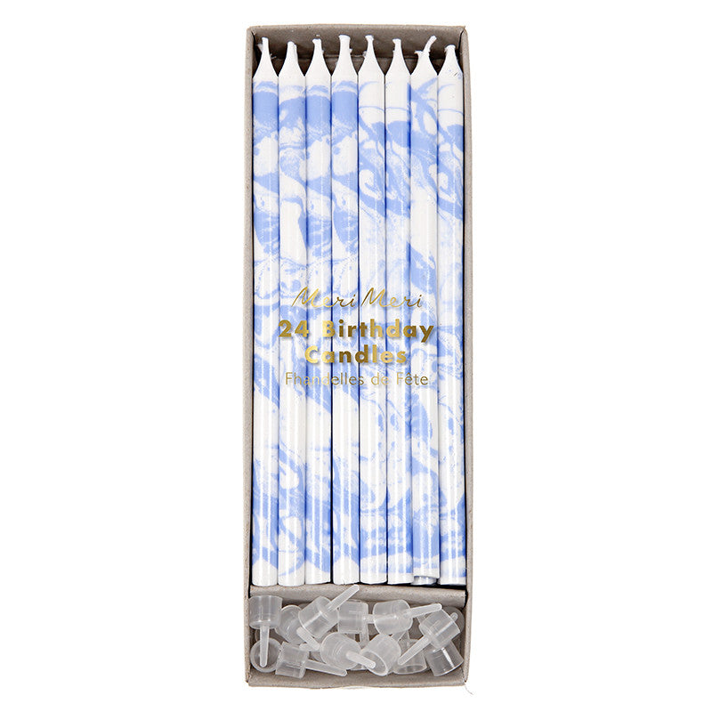 blue marbled candles