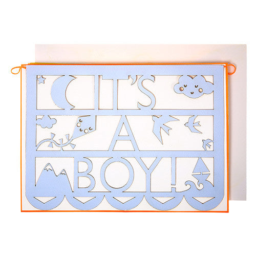 it's a boy cut out garland card