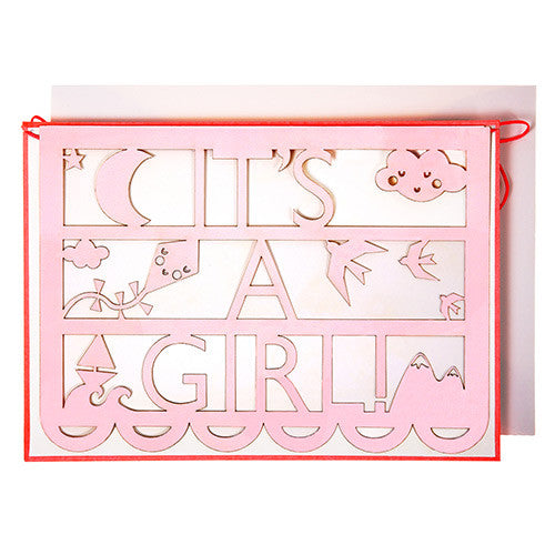 it's a girl cut out garland card