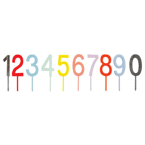 multicolored number cake topper