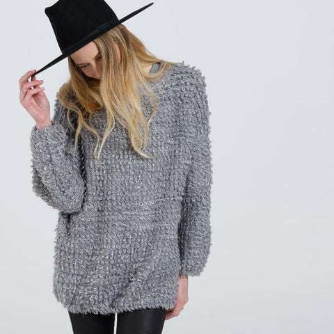 looped knit sweater- women's