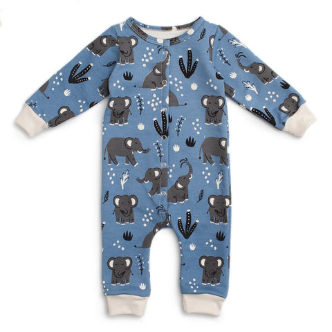 elephants blue french terry jumpsuit