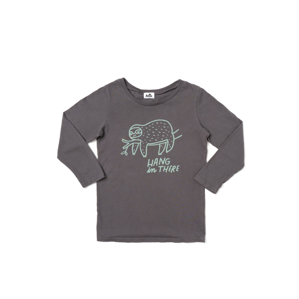 hang in there sloth l/s t-shirt- slate