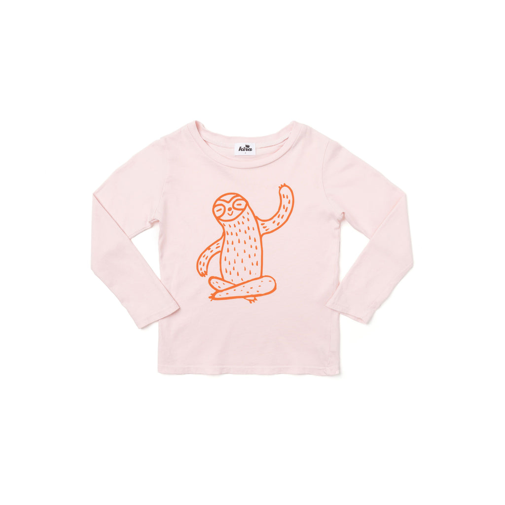 graphic sloth l/s t-shirt- powder pink