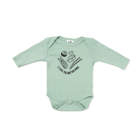 graphic roll l/s onesie- celadon
