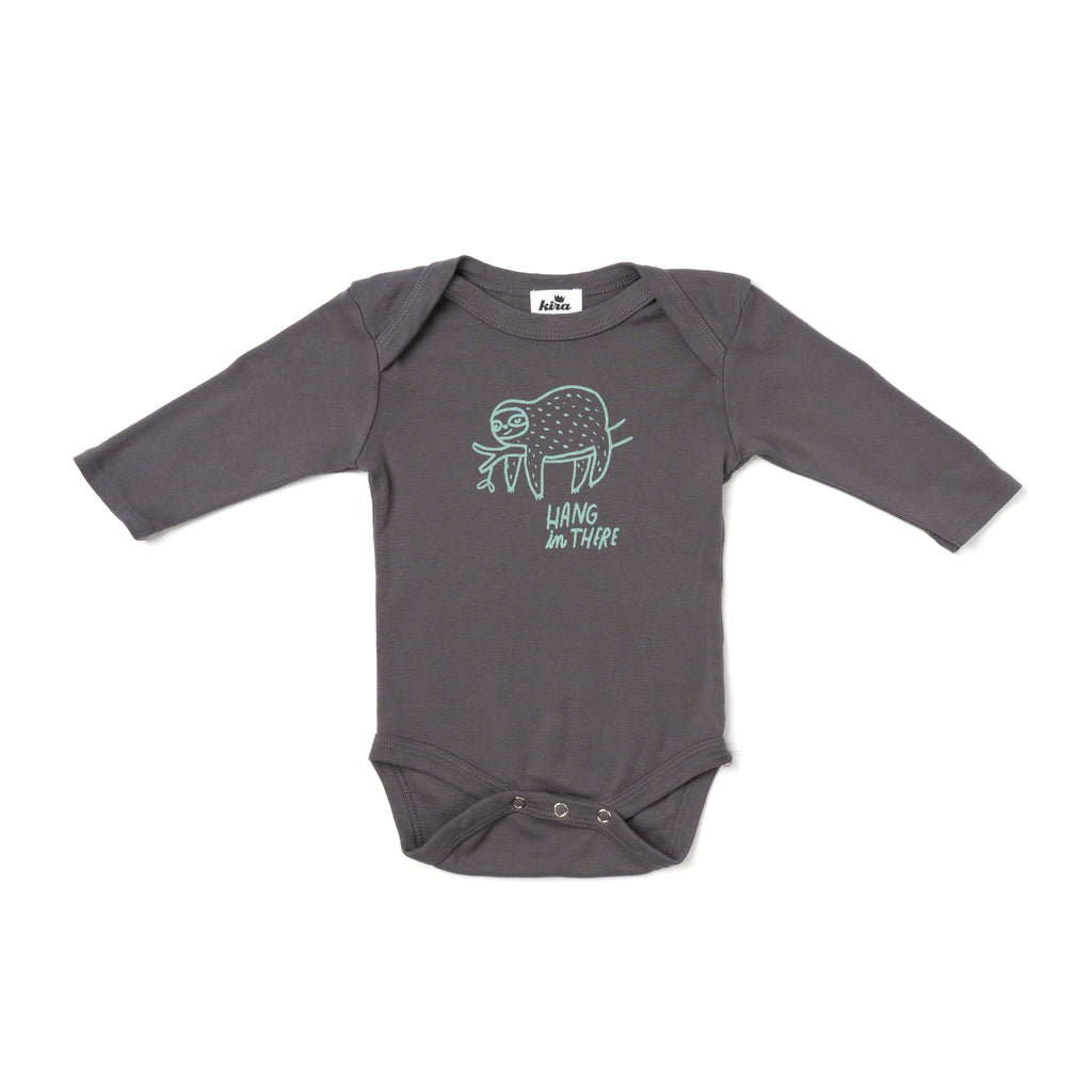 hang in there l/s onesie- slate